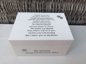 Personalised In Memory Of Box Loved One ~ DAUGHTER ~ any Name Bereavement Loss - 332625100896
